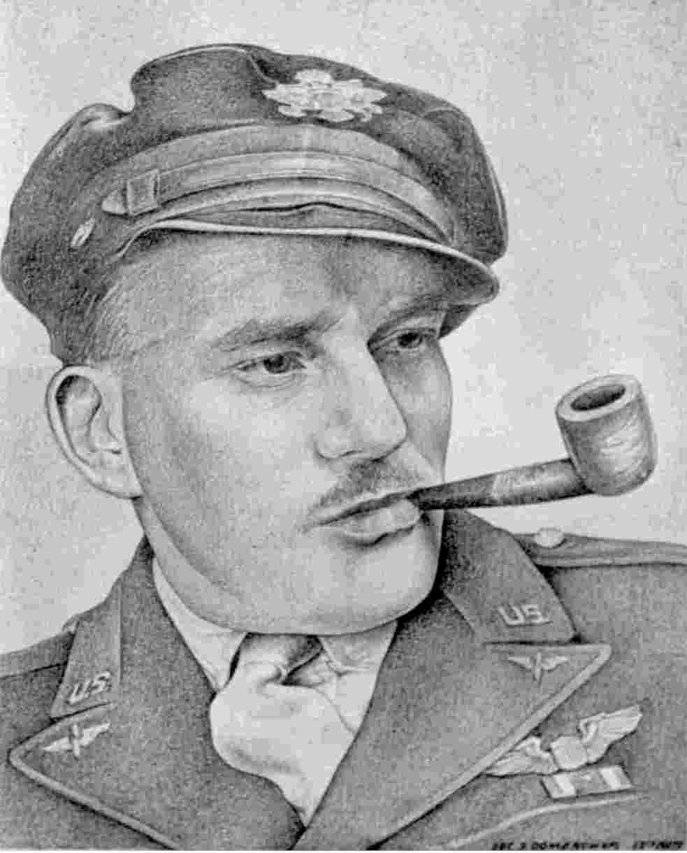 Charcoal sketch of Haun by Sgt. S. Dombrowski, 12th Squadron Photo Specialist